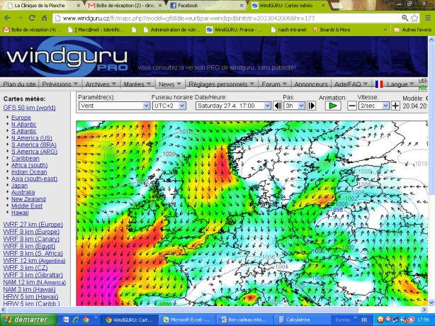 previsions meteo week end test north kite